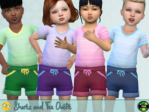 Sims 4 — Shorts and Tee Outfit - Needs EP Seasons by Pelineldis — A cool summerday outfit for toddler boys and girls in