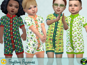 Sims 4 — Frog Time Pyjamas - Needs EP Seasons by Pelineldis — A cool pyjamasy with frog prints for toddler boy and girls