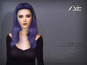 Sims 4 — Ade - Awake Style 1 (Hairstyle) by Ade_Darma — New Hair Mesh 47 Colors HQ Textures No Morph Smooth Weight Works