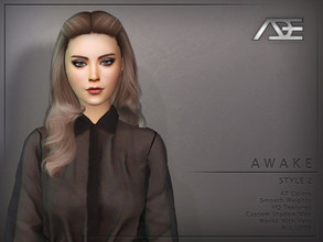 Sims 4 — Ade - Awake Style 2 (Hairstyle) by Ade_Darma — New Hair Mesh 47 Colors HQ Textures No Morph Smooth Weight Works
