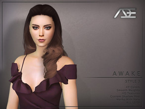Sims 4 — Ade - Awake Style 3 (Hairstyle) by Ade_Darma — New Hair Mesh 47 Colors HQ Textures No Morph Smooth Weight Works