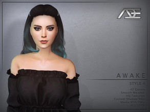 Sims 4 — Ade - Awake Style 4 (Hairstyle) by Ade_Darma — New Hair Mesh 47 Colors HQ Textures No Morph Smooth Weight Works