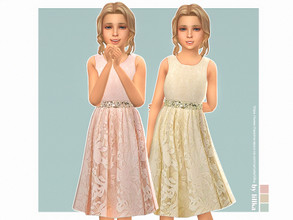 Sims 4 — Kelly Dress by lillka — Kelly Dress for Girls 3 swatches Custom thumbnail YOU NEED the free Holiday Celebration