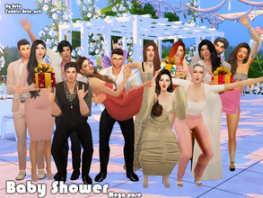 Sims 4 — Baby Shower (Mega pose) by Beto_ae0 — Group pose to celebrate as a family To use the poses you need the Mod pose