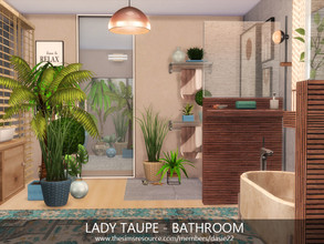 Sims 4 — LADY TAUPE - BATHROOM by dasie22 — Please, use code bb.moveobjects on before you place the room. Size: 7x4