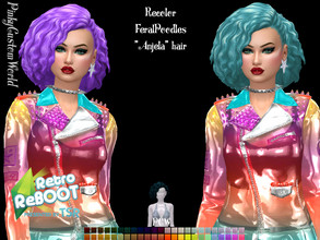 "Sims 4 — Retro ReBoot Recolor of FeralPoodles ""Anjela"" hair by PinkyCustomWorld — Inspired by the 80's punk"
