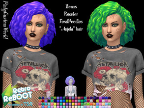 "Sims 4 — Retro ReBoot Bonus recolor of FeralPoodles ""Anjela"" hair by PinkyCustomWorld — Inspired by the 80's"