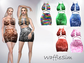 Sims 4 — WaffleSim Sequin Dress by Waffy666 — -7 swatches -specular ( it's actually shiny :) ) -new mesh -base game