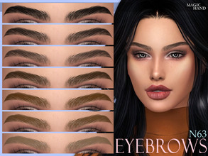 Sims 4 — [MH] Eyebrows N63 by MagicHand — --12 available colors-- --Compatible with HQ settings-- --CAS thumbnail--