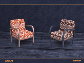 Sims 4 — Amari. Armchair by soloriya — Armchair with ethnic ornament. Part of Amari set. 2 color variations. Category: