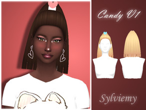 Sims 4 — Candy Hairstyle Set by Sylviemy — The set included Candy Hair V1 and Recolor Accessory