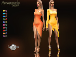Sims 4 — Anwsunaly dress by jomsims — Anwsunaly dress Dress Sims 4 for her in 20 shades short biai cut dress with only