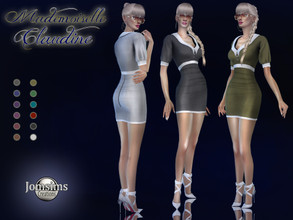 Sims 4 — Mademoiselle Claudine dress by jomsims — Mademoiselle Claudine dress Dress Sims 4 for her in 12 shades short