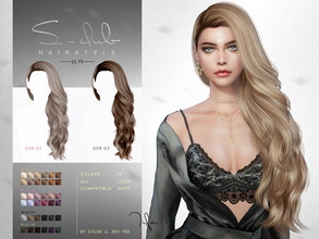 Sims 4 — sclub_ts4_hair_n73_ Tifa by S-Club — The long curly hair for The Sims 4. 36 kinds of color .