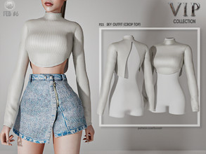 Sims 4 — [PATREON]  (Early Access) Sky Outfit (CROP TOP) P23 by busra-tr — 10 colors Adult-Elder-Teen-Young Adult For