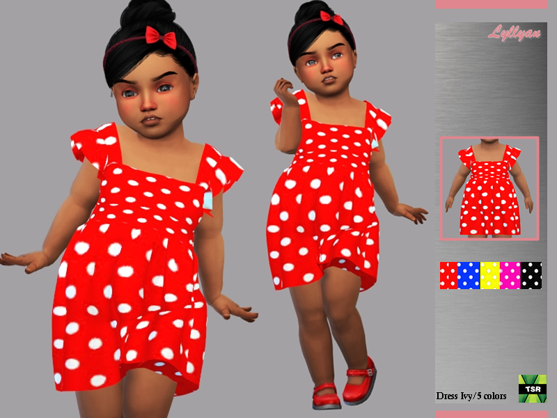Sims 4 — Toddler dress Ivy by LYLLYAN — Toddler dress Ivy in 5 colors. For Toddler New mesh Custom thumbnail