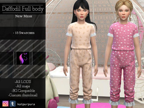 Sims 4 — Daffodil Full Body by KaTPurpura —  Daffodil is a full-body set for girls, comfortable to be at home, so much