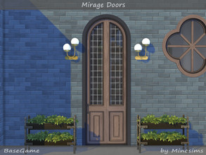Sims 4 — Mirage Doors by Mincsims — The translucent glass of this front door protects your Sims' privacy. The set