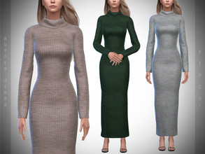 Sims 4 — Pipco - Aurora Sweater Dress. by Pipco — 13 Swatches Base Game Compatible New Mesh All Lods Specular and Normal