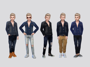 Sims 4 — Daytona Denim Jacket Boys by McLayneSims — TSR EXCLUSIVE Standalone item 6 Swatches MESH by Me NO RECOLORING