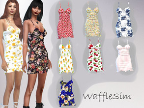 Sims 4 — WaffleSim Summer Dress by Waffy666 — -new mesh -base game needed only -specular -9 swatches - enjoy :3