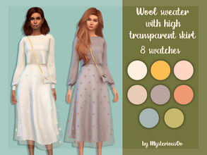 Sims 4 — Wool sweater with high transparent skirt by MysteriousOo — 8 Swatches; Base Game compatible; HQ compatible; Teen