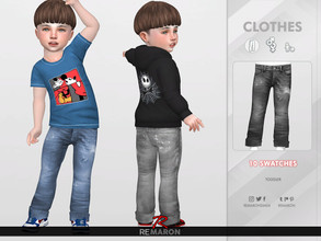 Sims 4 — Denim Pants for Toddler 02 by remaron — -10 Swatches available -Toddler Category -Custom CAS thumbnail -Base