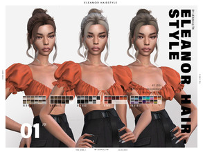 Sims 4 — LeahLillith Eleanor Hairstyle by Leah_Lillith — Eleanor Hairstyle All LODs Smooth bones Custom CAS thumbnail