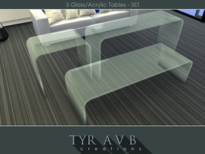 Sims 4 — 3 Modern Glass (Acrylic) Tables - SET by TyrAVB — This well known modern glass tables over the years became part