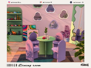 Sims 4 — Indigo Dining room by Winner9 — Vintage looking colorful dining room in 6 pastel swatches. This set contains: 1)