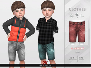 Sims 4 — Denim Shorts for Toddler 02 by remaron — ==== NEW MESH ==== -10 Swatches available -All lods -Custom CAS