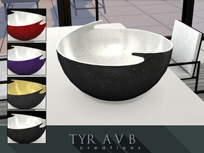 Sims 4 — Big Deco Bowl by TyrAVB — This modern porcelain duo tone decorative bowl has a huge wow factor when placed in