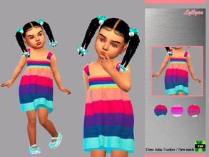 Sims 4 —  Toddler dress Julia by LYLLYAN — Dress in 3 colors For Toddler New mesh Custom thumbnail