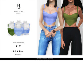 Sims 3 — Satin Mesh Bustier Crop Top by Bill_Sims — YA/AF Everyday/Formal Available for Maternity Recolorable - 1 Channel