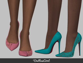 Sims 4 — Gemini Pumps by DallasGirl — Elegant split pumps with half leather, half lace inlays *Info* -All LODs -35