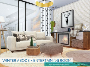 Sims 4 — Winter Abode - Entertaining Room by Lhonna — Large modern room with TV, office corner, bar, and other