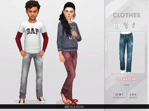 Sims 4 — Denim Pants for Child 01 by remaron — -10 Swatches available -Child Category -Custom CAS thumbnail -Base Game