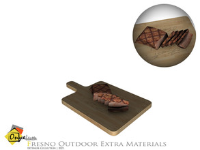 Sims 4 — Fresno Cooked Meat On Chopping Board by Onyxium — Onyxium@TSR Design Workshop Outdoor And Garden Collection |