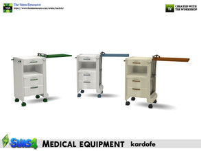 Sims 4 — kardofe_Medical equipment_Auxiliary table2 by kardofe — Hospital bedside table, with the tray on the left side,