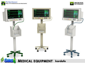 Sims 4 — kardofe_Medical equipment_Clinical Monitor by kardofe — Clinical monitor, with wheeled stand and basket, in