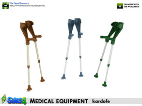 Sims 4 — kardofe_Medical equipment_Crutches by kardofe — Pair of crutches, wall-mounted, decorative, in three colour