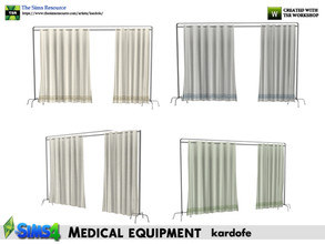 Sims 4 — kardofe_Medical equipment_Screen by kardofe — Privacy curtain or room divider. In three colour options