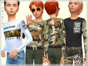 Sims 4 — Shirt Un Ltd  by bukovka — Longsleeve for children, boy. Installed offline. Mesh changed by me, included.