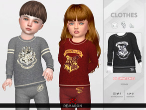 Sims 4 — Harry Potter PJs Sweater for Toddler 01 by remaron — -06 Swatches available -Toddler Category -Custom CAS