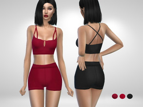 Sims 4 — Rox Outfit by Puresim — Athletic two piece outfit. - 3 swatches - teen to elder Enjoy!