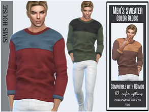 Sims 4 — Men's sweater color block by Sims_House — Men's sweater color block 10 options.