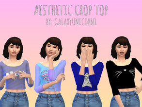 Sims 4 — Aesthetic Crop Top For Women by GalaxyUnicorn1 — a very cute aesthetic crop top for your Female Sims!!! Let them