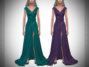 Sims 4 — Pipco - Valentine Gown II by Pipco — 10 Swatches Base Game Compatible New Mesh All Lods Specular and Normal Maps