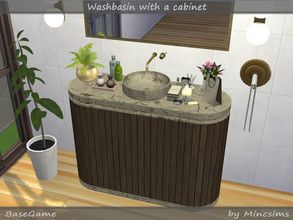 Sims 4 — Washbasin with Cabinet by Mincsims — This elegant washbasin is made of marble, concrete and wood. Also it's