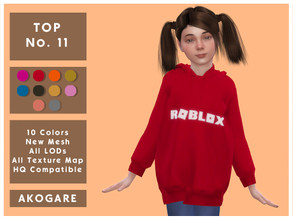 Sims 4 — Akogare Top No.11 by _Akogare_ — Akogare Top No.11 - 10 Colors - New Mesh (All LODs) - All Texture Maps - HQ